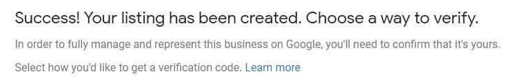 GMB success verified